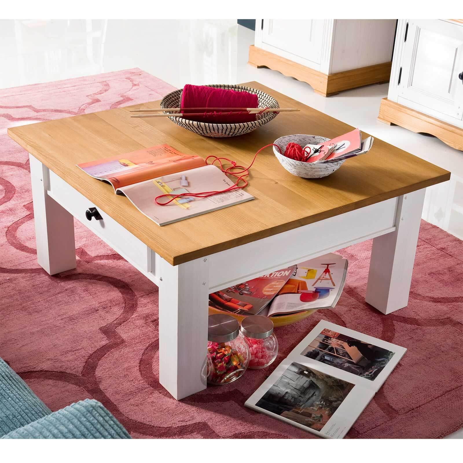 couchtisch alby wei natur pinie massiv 70 x 70 cm. Black Bedroom Furniture Sets. Home Design Ideas