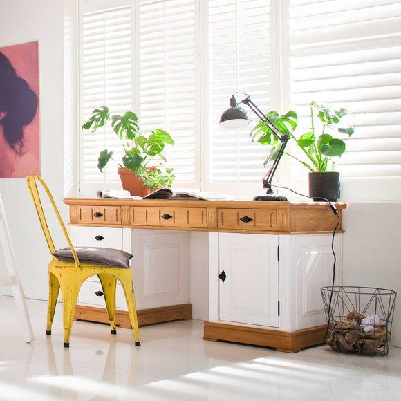 Schreibtisch Alby Weiß Natur Massiv Landhausstil – Bild 2