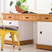 Schreibtisch Alby Weiß Natur Massiv Landhausstil – Bild 3