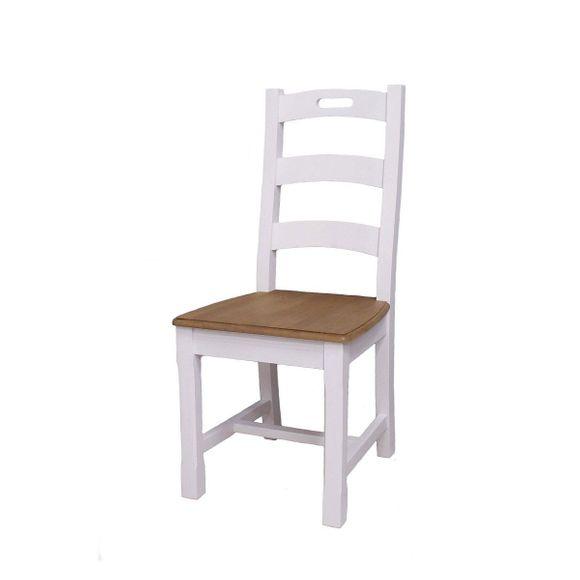 Stuhl Alby Weiß Natur Massiv Landhausstil 2er Set – Bild 1