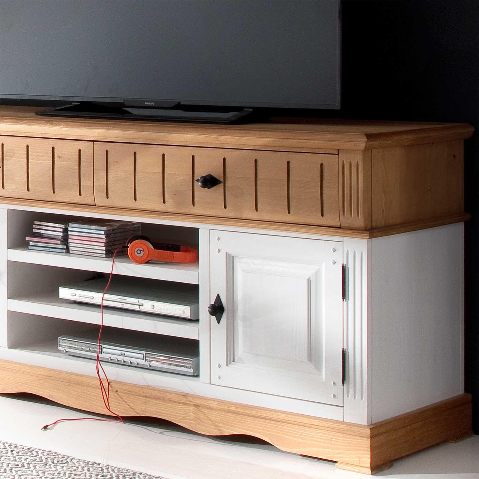 Tv anrichte alby wei natur 160 cm breit pinie massiv for Wohnzimmer 3 5 m breit