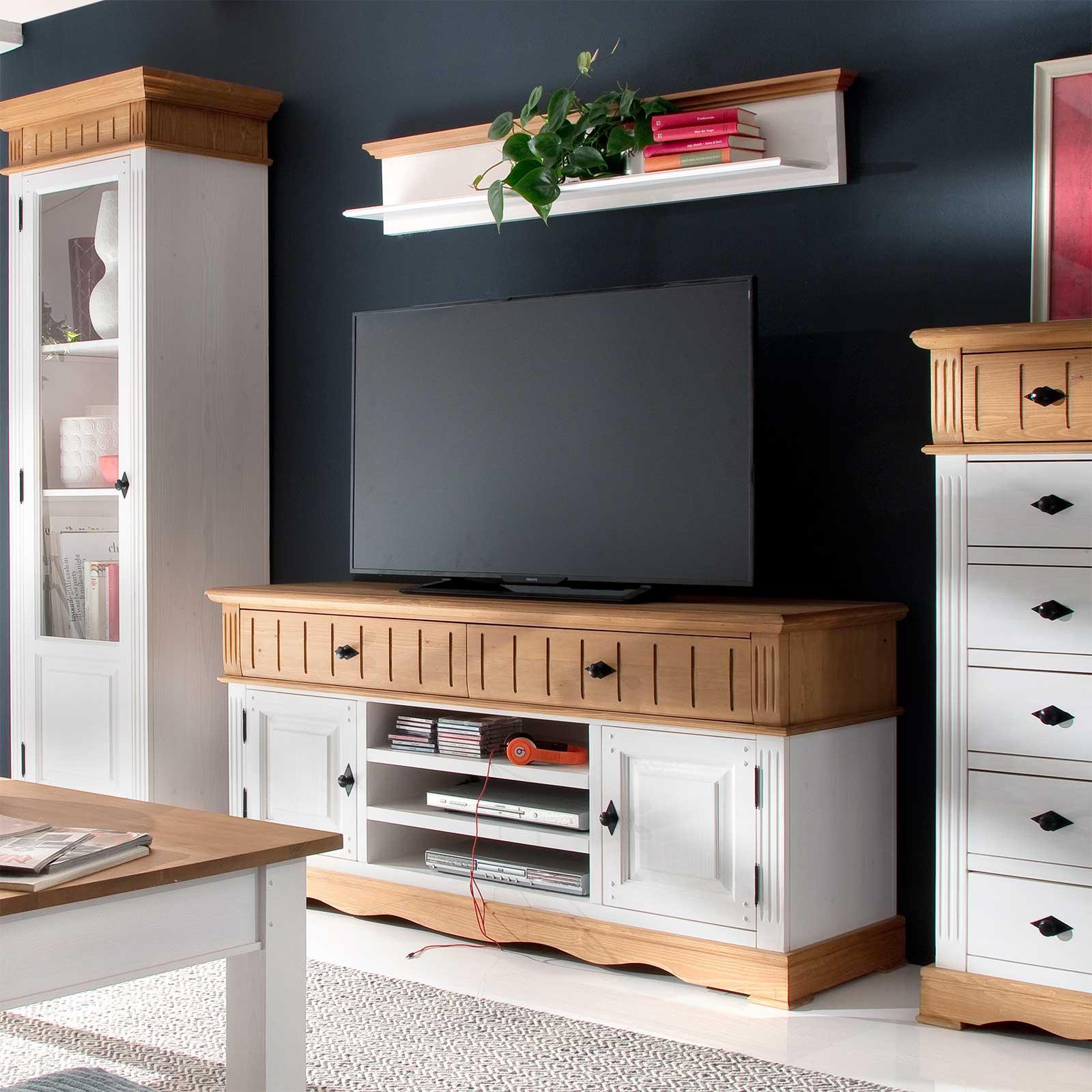 tv anrichte alby wei natur 160 cm breit pinie massiv. Black Bedroom Furniture Sets. Home Design Ideas