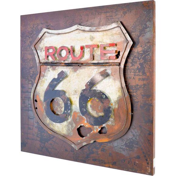3D Metallbild Route 66 Wandbild 80 x 80 cm – Bild 1