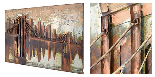 3D Metallbild Motiv Brooklyn Bridge