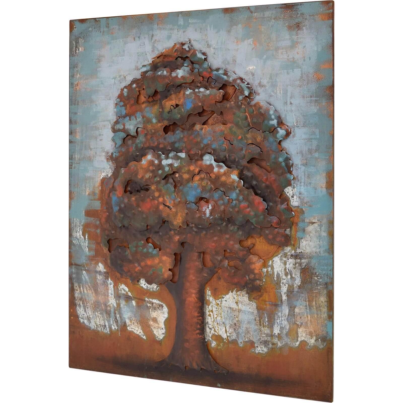 3D Metallbild  Baum Wandbild 60 x 80 cm