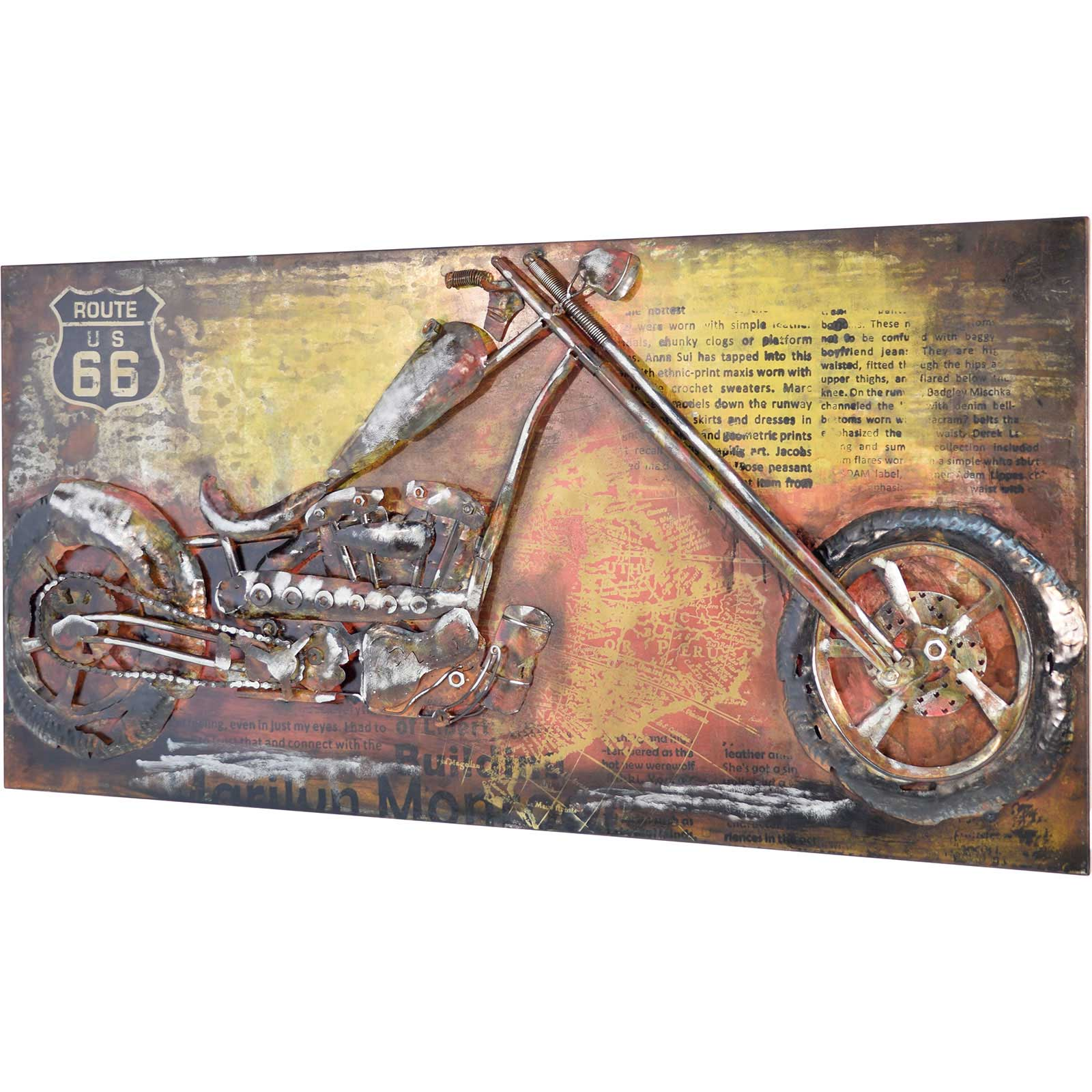 3D Metallbild Motorrad Wandbild 140 x 70 cm