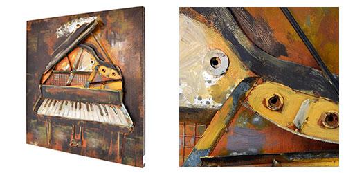 3D Metallbild Motiv Klavier