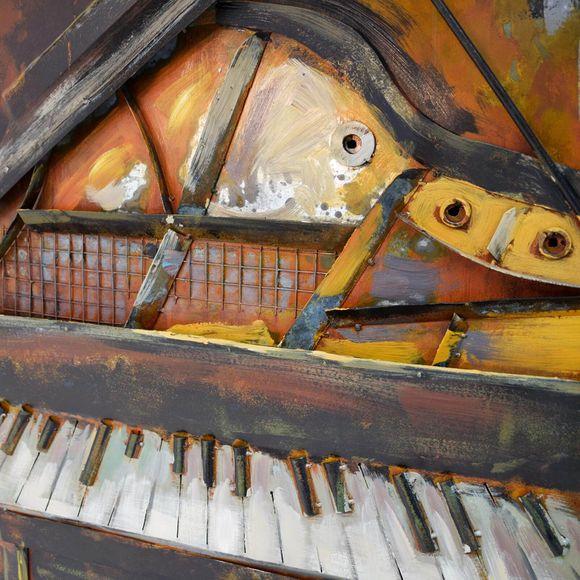 3D Metallbild Klavier Wandbild 80 x 80 cm – Bild 4