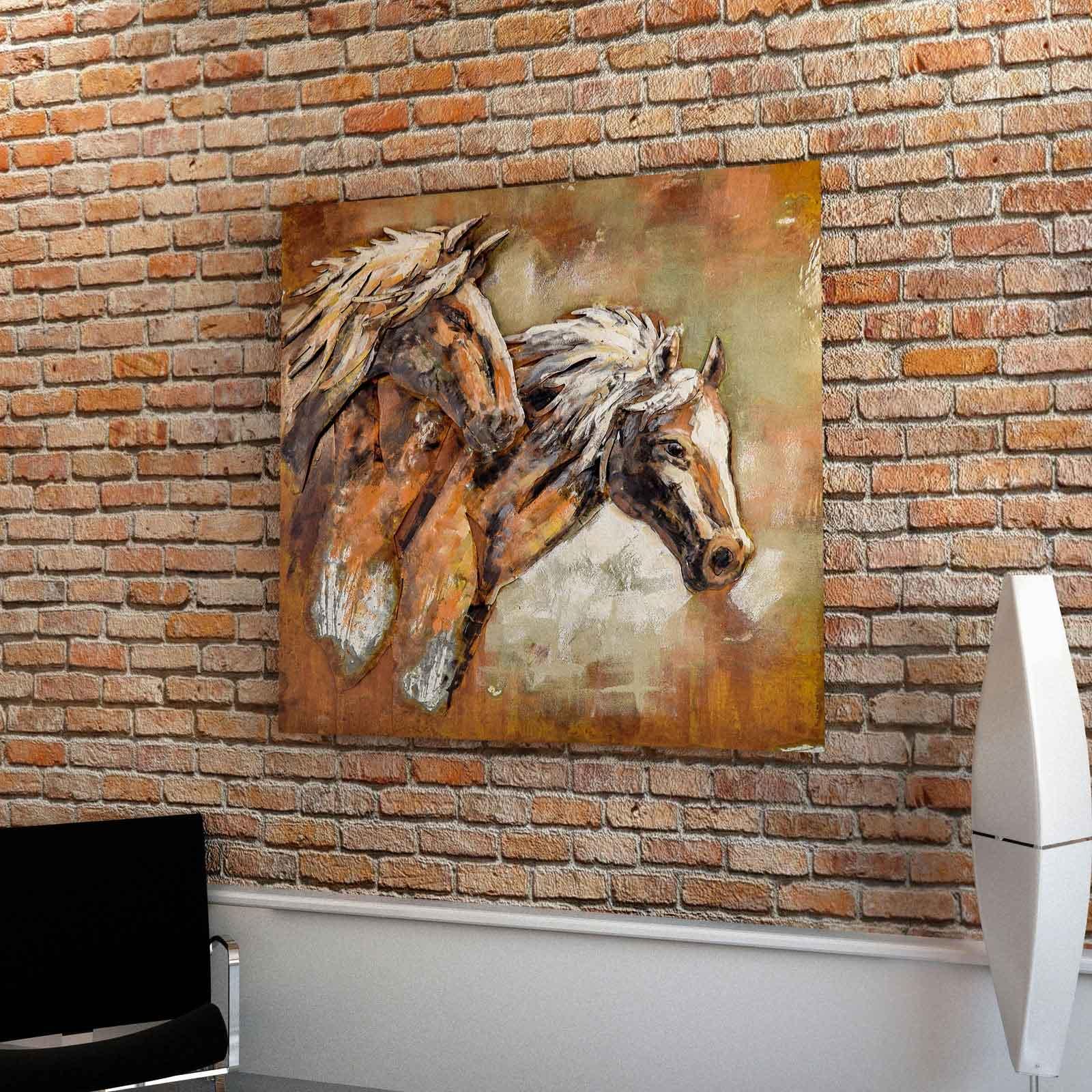 Wandbild Metall 3d : 3d metallbild pferde wandbild 100 x 100 cm metall bild wandrelief pferdekopf ebay ~ Watch28wear.com Haus und Dekorationen
