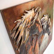 3D Metallbild Pferde Wandbild 100 x 100 cm – Bild 3
