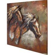 3D Metallbild Pferde Wandbild 100 x 100 cm – Bild 1