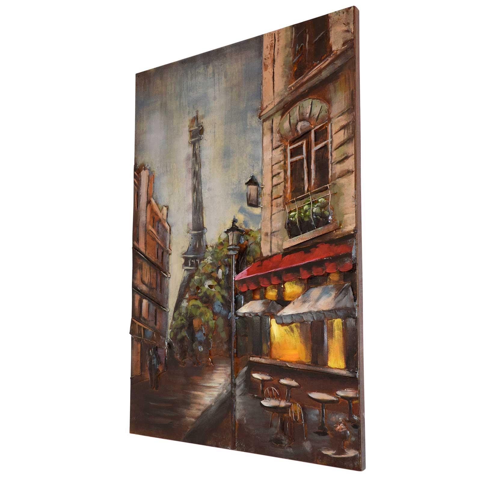 3D Metallbild Paris Wandbild 80 x 120 cm