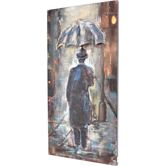 3D Metallbild Mann im Regen Wandbild 60 x 120 cm – Bild 1