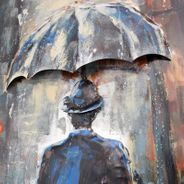 3D Metallbild Mann im Regen Wandbild 60 x 120 cm – Bild 4