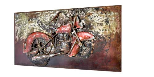 3D Metallbild Motiv Chopper