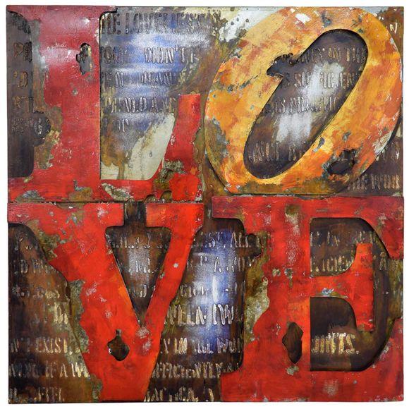 3D Metallbild Love Wandbild 100 x 100 cm – Bild 2