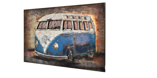 3D Metallbild Bulli Bus