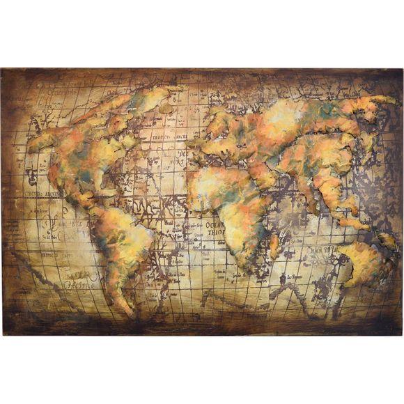 3D Metallbild Weltkarte Wandbild 120 x 80 cm – Bild 2