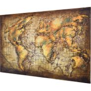 3D Metallbild Weltkarte Wandbild 120 x 80 cm – Bild 1