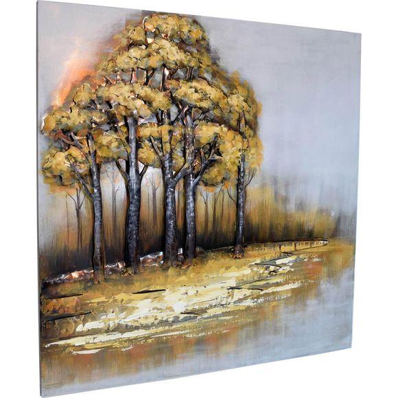 3D Metallbild Bäume am Fluss Wandbild 100 x 100 cm – Bild 4