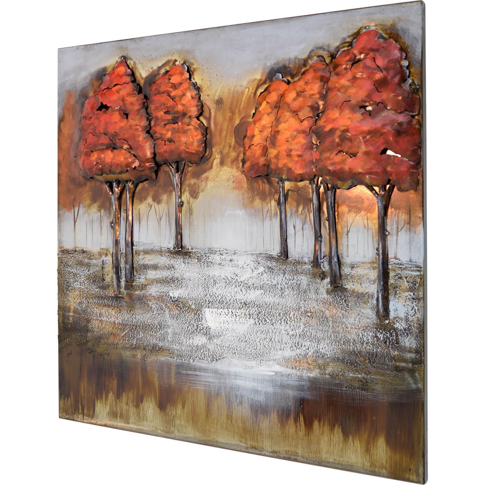3D Metallbild Wald Wandbild 80 x 80 cm
