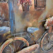 3D Metallbild Fahrrad Cafe Wandbild 100 x 100 cm – Bild 4