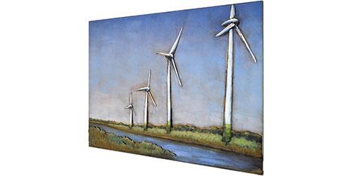 3D Metallbild Windmühle