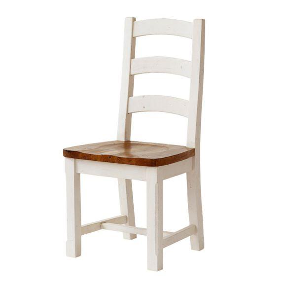 Stuhl Bodde (2er-Set) in Kiefer Massivholz Weiß / Honig – Bild 1