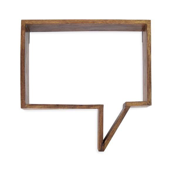 Wandregal Sprechblase Sheesham Massivholz 50x 13 x 50 cm – Bild 1
