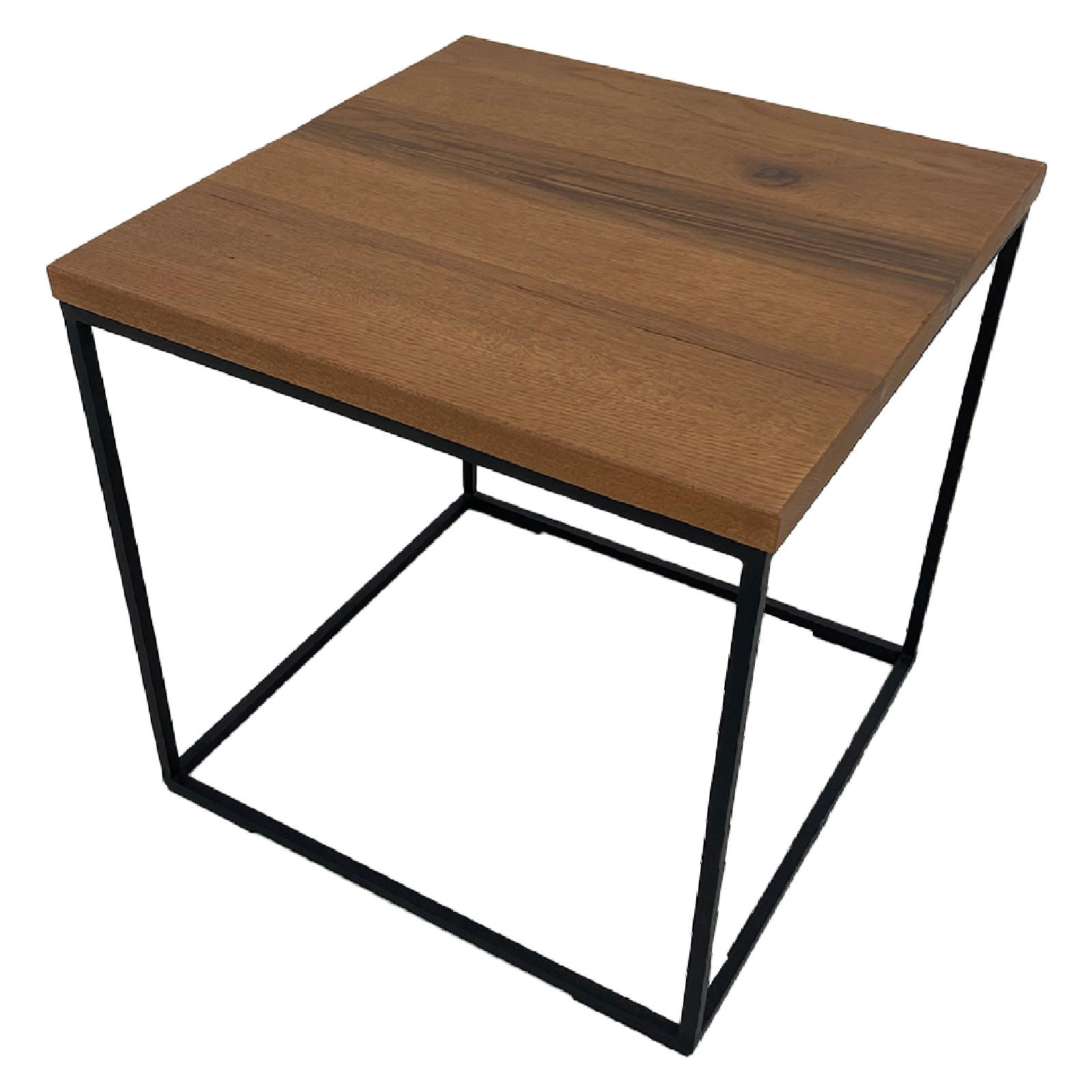 Beistelltisch Cube aus Metall und Eiche in Braun oder Grau 40 x 40 cm