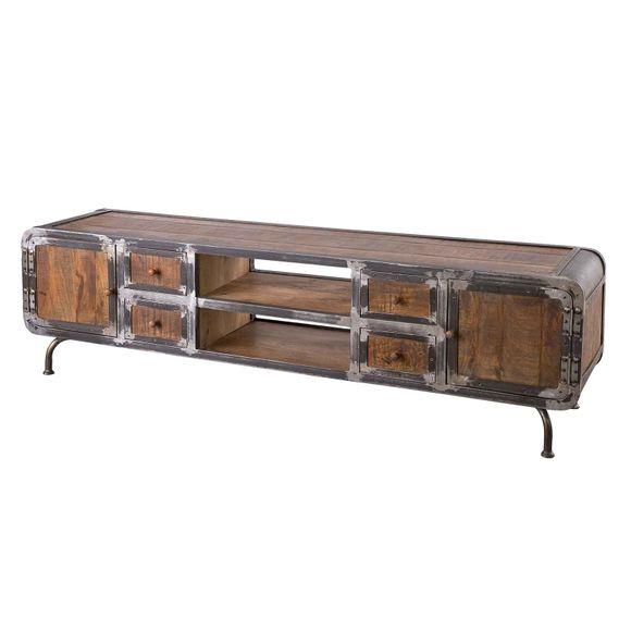 Lowboard Saigon aus Mangoholz und Metall 200 x 55 cm