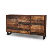 Sideboard Kumasi aus Massivholz in Antik Braun 165 x 85 cm