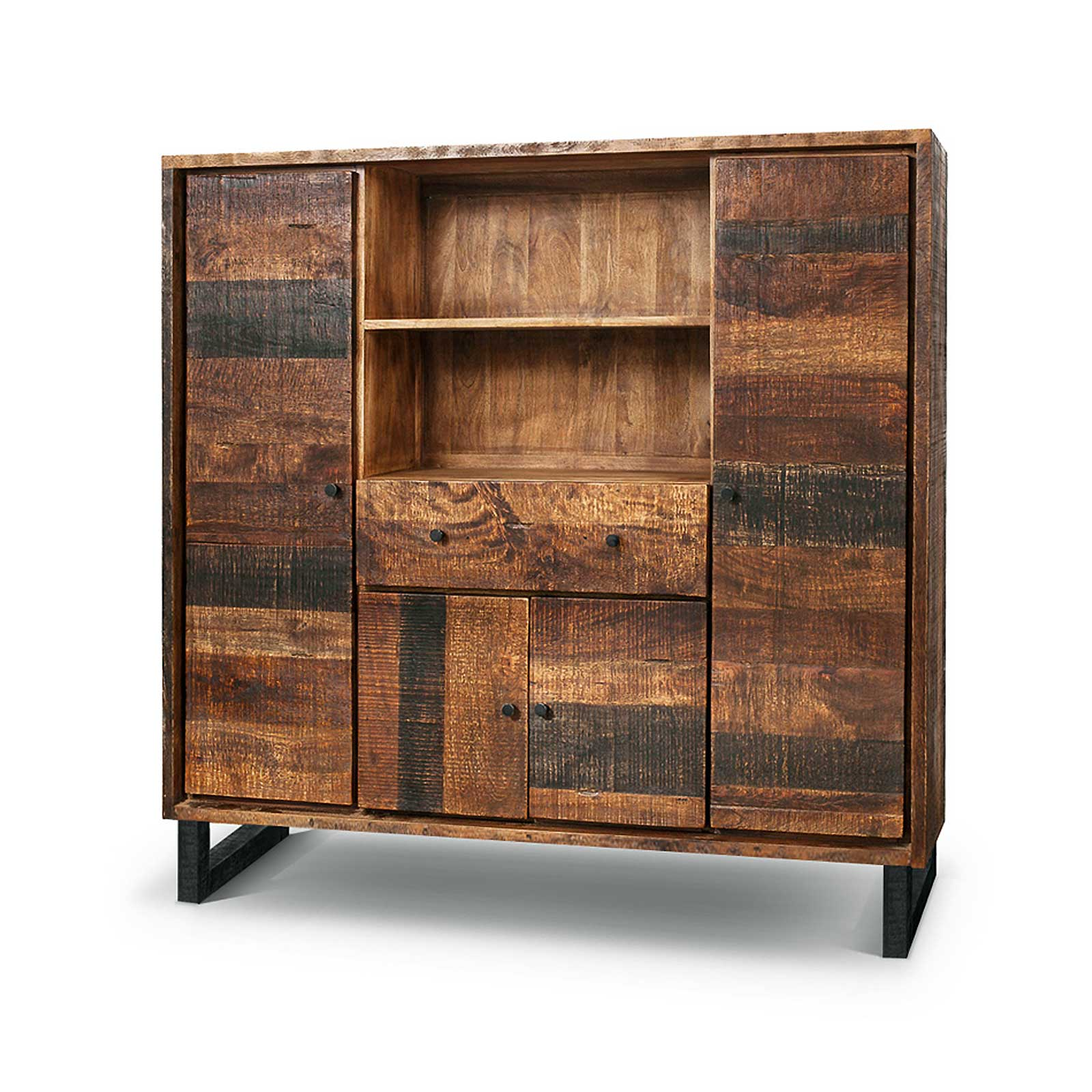 Highboard Kumasi aus Massivholz in Antik Braun 150 x 150 cm