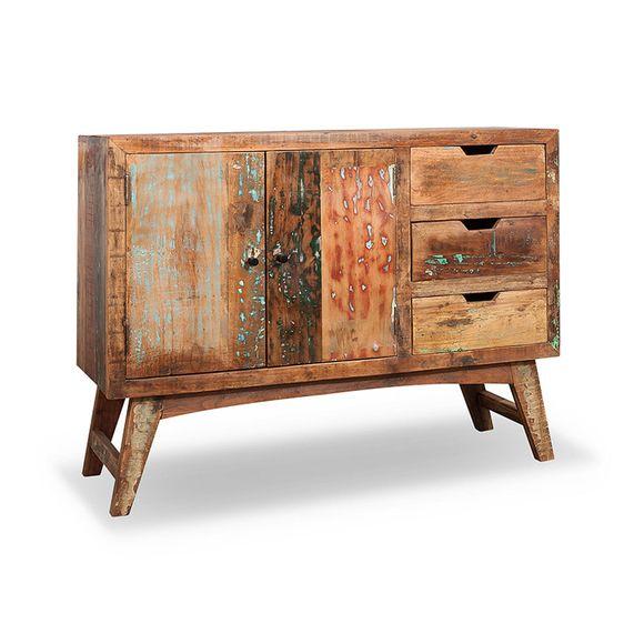 Sideboard Malm aus recyceltem Massivholz 115 x 85 cm Bunt – Bild 2