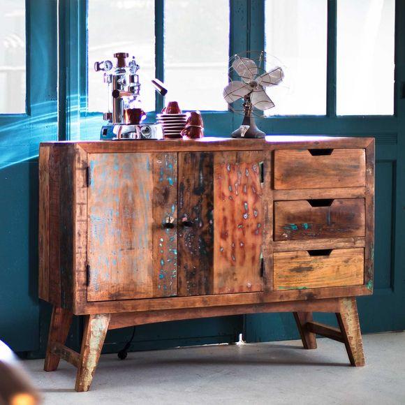 Sideboard Malm aus recyceltem Massivholz 115 x 85 cm Bunt – Bild 3
