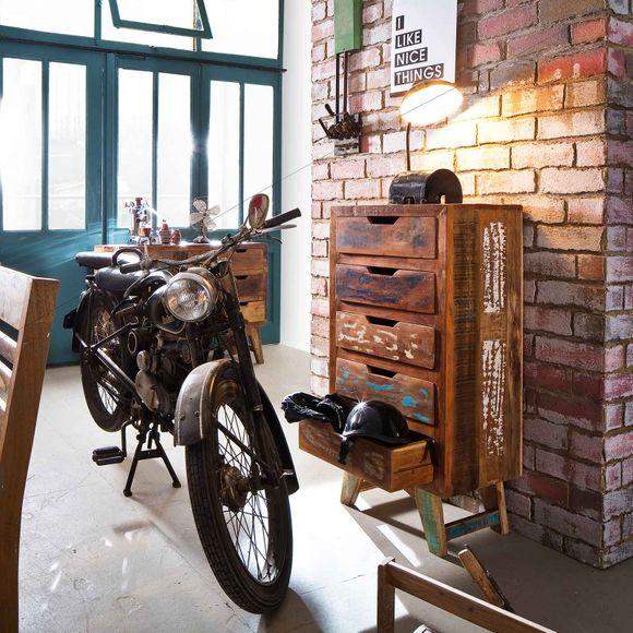 Kommode Malm aus recyceltem Massivholz 50 x 110 cm Bunt – Bild 2