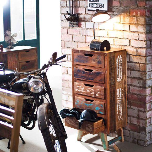 Kommode Malm aus recyceltem Massivholz 50 x 110 cm Bunt – Bild 5