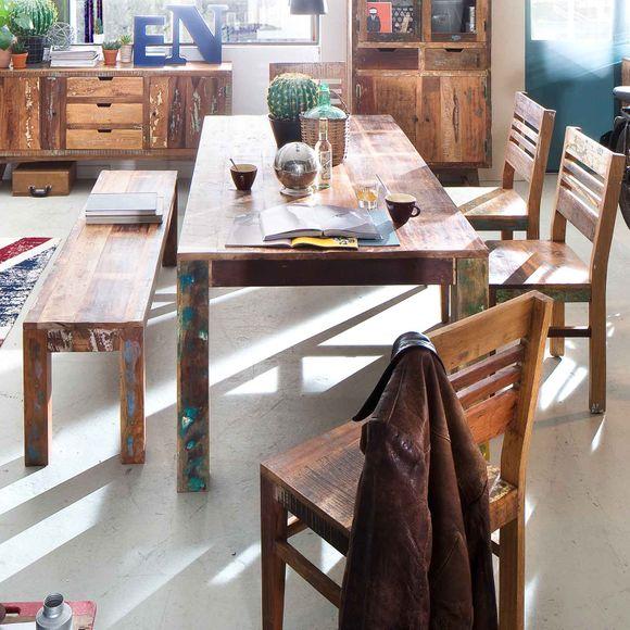 Sitzbank Malm aus recyceltem Massivholz 48 x 160 cm Bunt – Bild 2