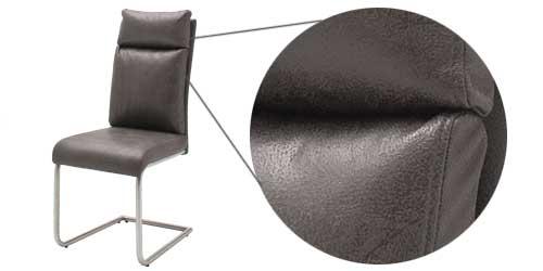 Freischwinger in Grau mit Metallgestell in schwarz matt