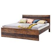 Bett Kumasi aus Massivholz in Antik Braun 198 x 213 cm – Bild 1