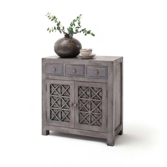 Kommode Lao in Grau aus Massivholz – Bild 1