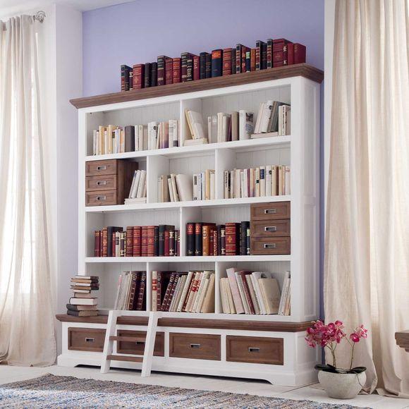 Bücherwand Fleur im Landhausstil in Weiß Braun – Bild 2