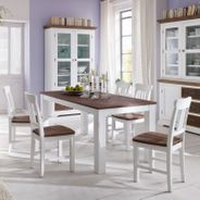 Stuhl Fleur im Landhausstil Weiß Braun 2er Set – Bild 2