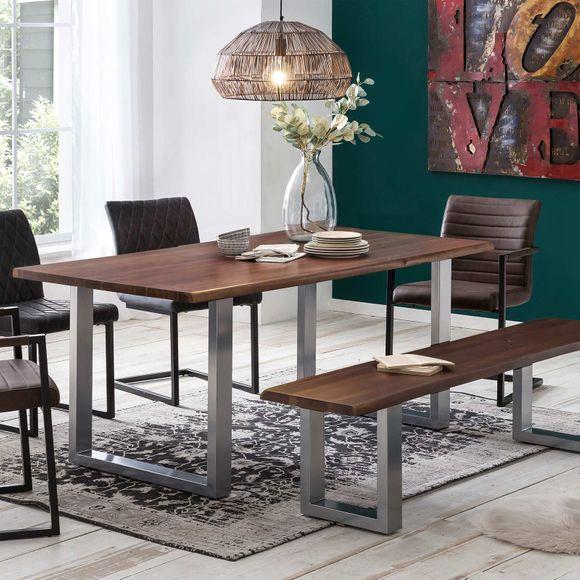 Sitzbank Byra mit Baumkante Massivholz Braun lackiert mit U Gestell in Grau – Bild 2