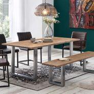 Sitzbank Byra mit Baumkante Massivholz Hellbraun mit U Gestell in Grau – Bild 2