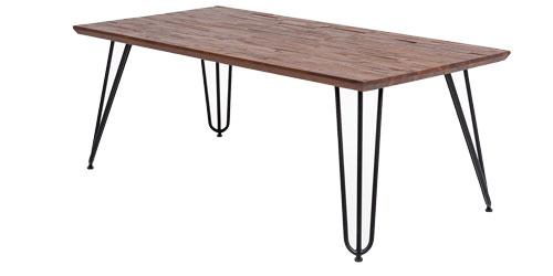 Baumkanten Esstisch in Braun Massiv mit Hairpin Beinen