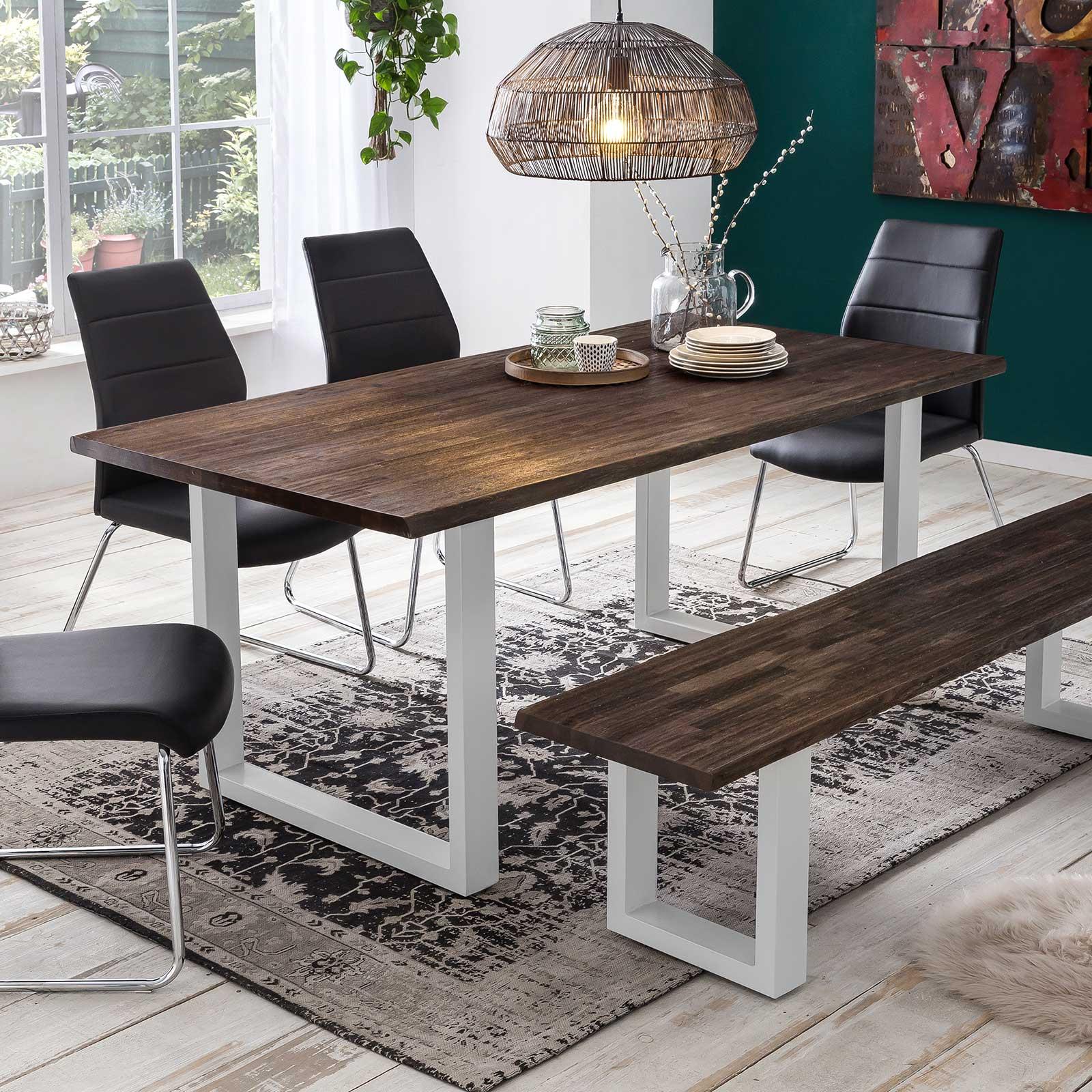 esstisch byra akazie massivholz braun verwittert mit. Black Bedroom Furniture Sets. Home Design Ideas