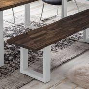 Sitzbank Byra mit Baumkante Massivholz Braun sandgestrahlt mit U Gestell in Weiß – Bild 4