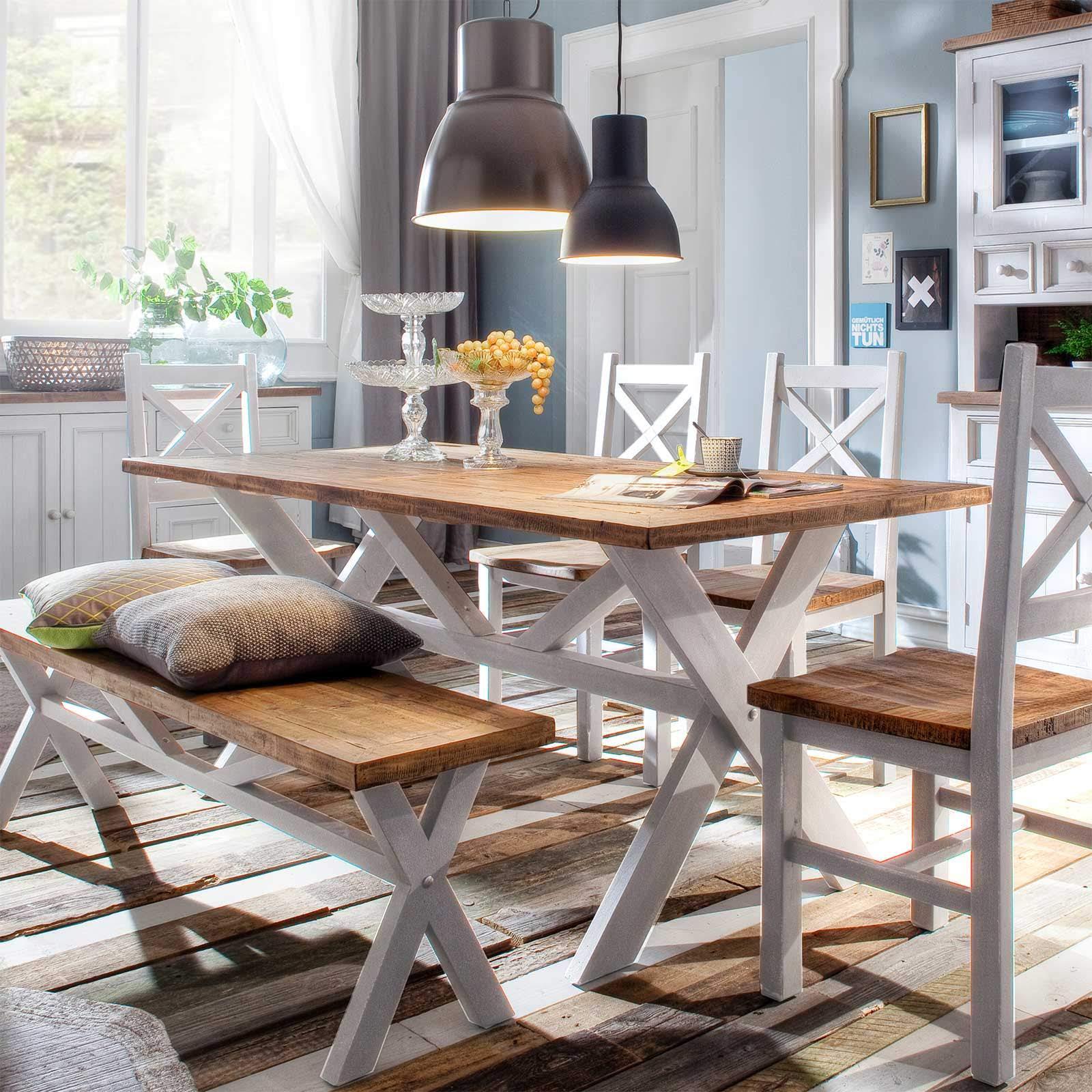 esstisch byron wei braun massiv 90 x 180 cm. Black Bedroom Furniture Sets. Home Design Ideas
