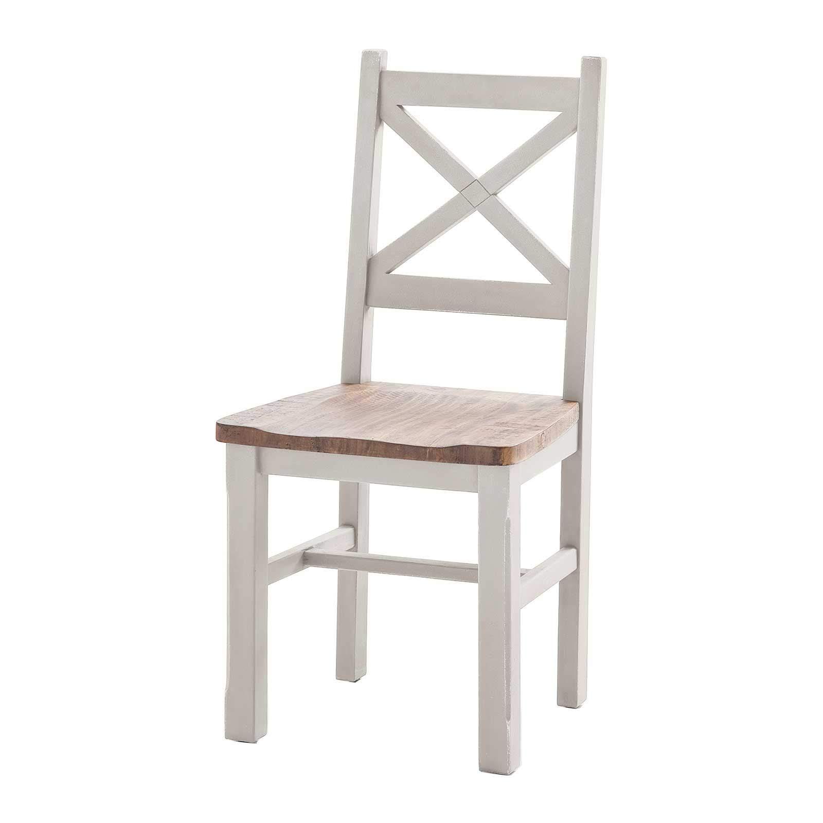 Stuhl Byron Weiß Braun Massiv 2er Set